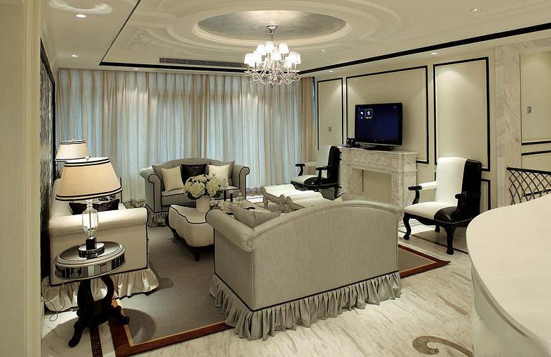 奢华简欧风格客厅装饰大全