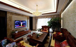 奢华红木现代中式混搭别墅装潢设计效果图