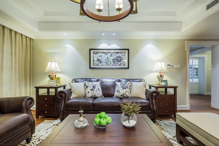 温馨复古美式设计客厅背景墙装饰效果图