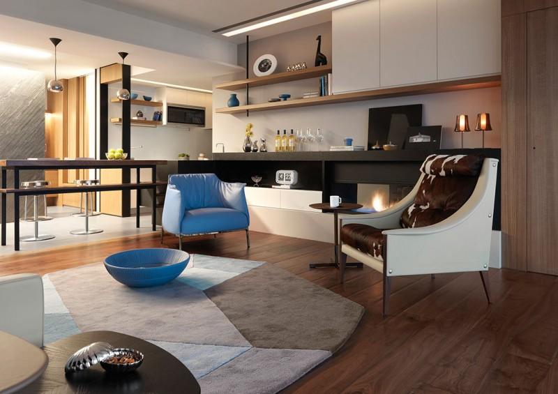 北欧现代实用设计客厅装潢效果图