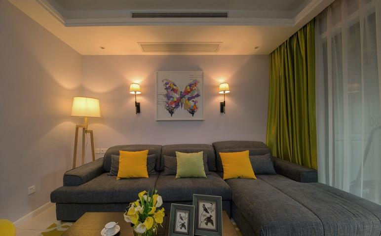 色彩靓丽现代简约客厅灯光效果图