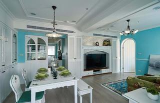 清新蓝绿色地中海风格二居室家装效果图