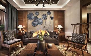 咖系奢华古典东南亚装修三居样板房装饰