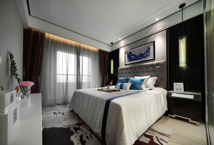 中式现代风格卧室软装搭配效果图