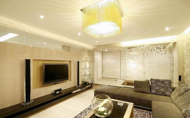 欧式装潢现代设计客厅吸顶灯装饰图