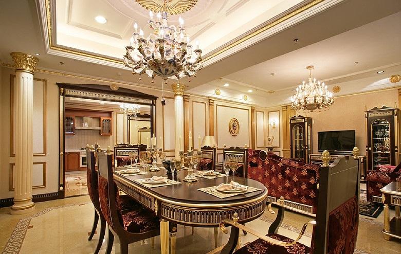 奢华欧式新古典宫廷风格餐厅吊顶效果图