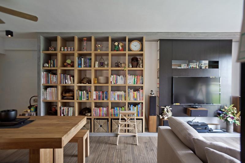 家装公寓室内简约木书架设计