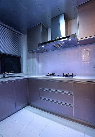 简约时尚现代厨房紫光效果图