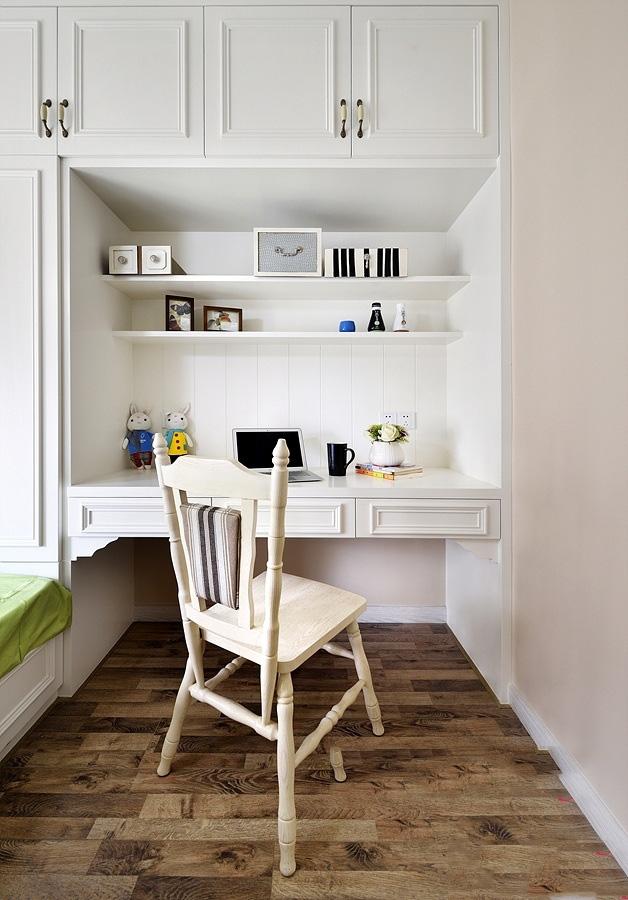 明亮简约美式书房白色书柜效果图