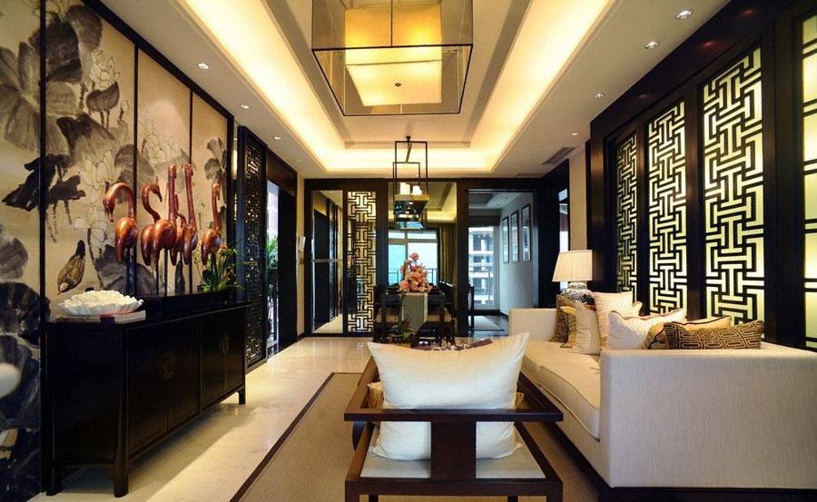 130平米端庄文雅大气中式风格三居客厅吊顶效果图