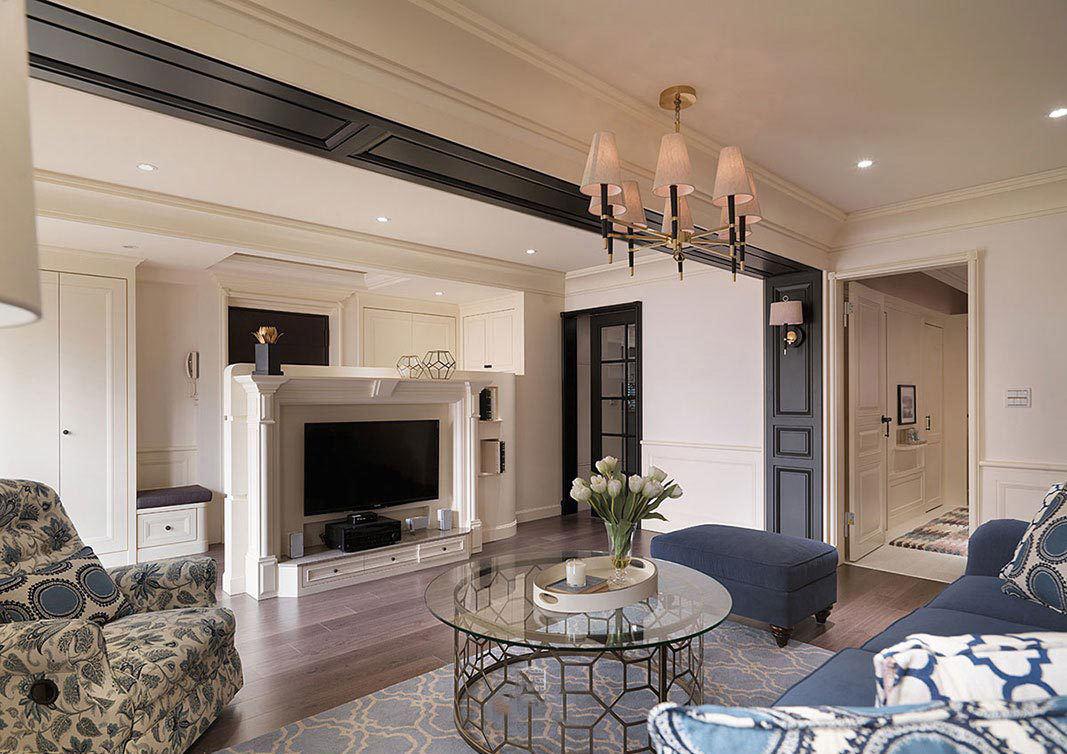 复古美式装修三室两厅装修效果图