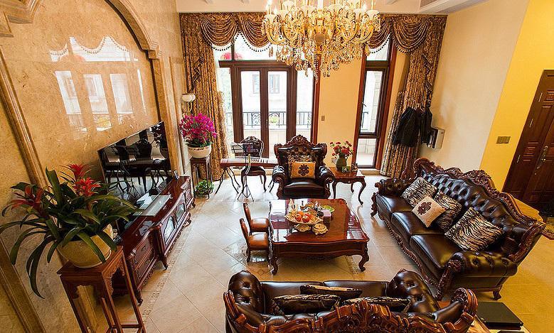 豪华复古欧式风别墅客厅实木家装设计