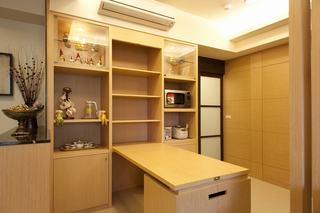 原木现代日式书房整体书柜设计