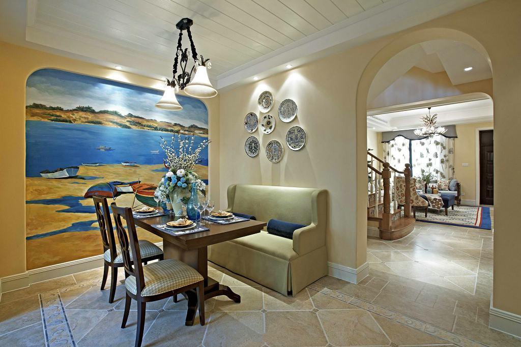 田园地中海别墅餐厅海景沙滩背景墙装饰图