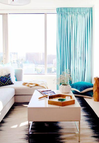 清新简约一居客厅窗帘装饰效果图