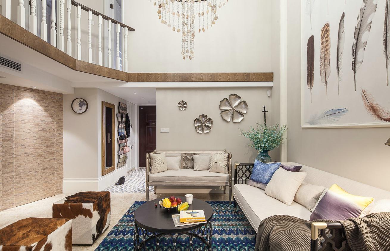 美式装修风格复式挑高客厅效果图图片