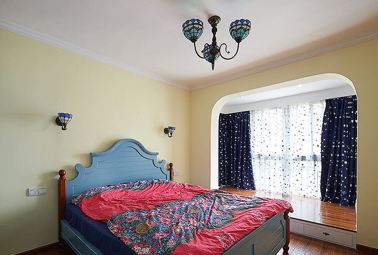 清新美式地中海田园风卧室装潢效果图