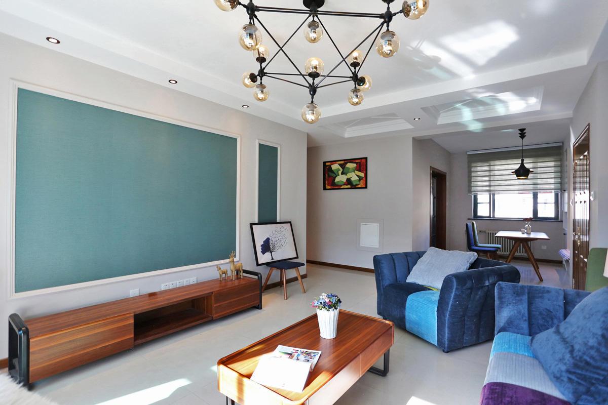 温馨简约现代公寓客厅精装样板间