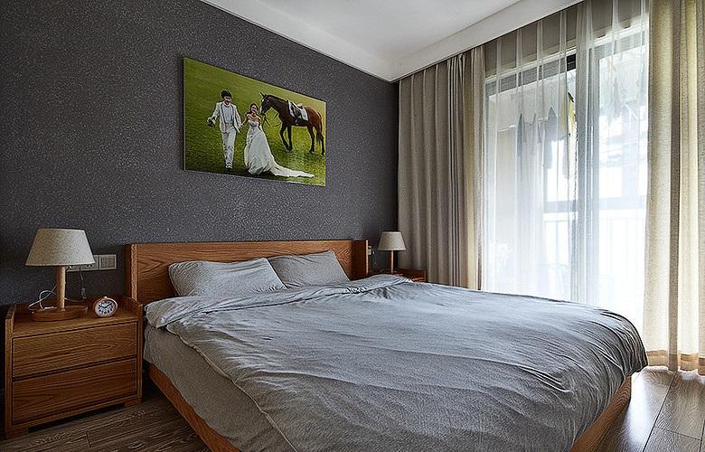 日式简约装饰风格卧室窗帘图