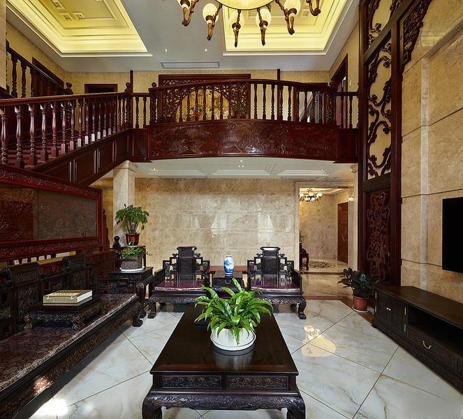 宫廷中式风格别墅客厅装修效果图