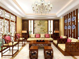 高档豪华中式别墅客厅装饰图
