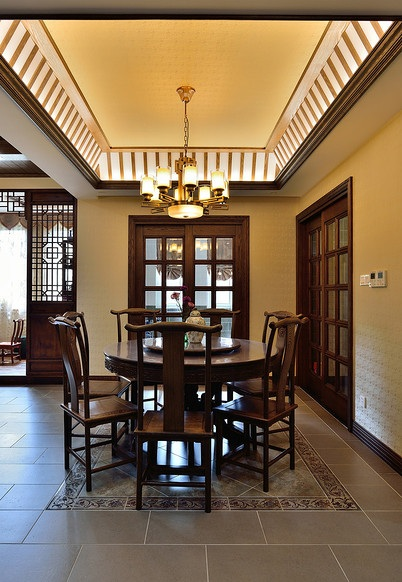 优雅古典咖色新中式餐厅效果图大全