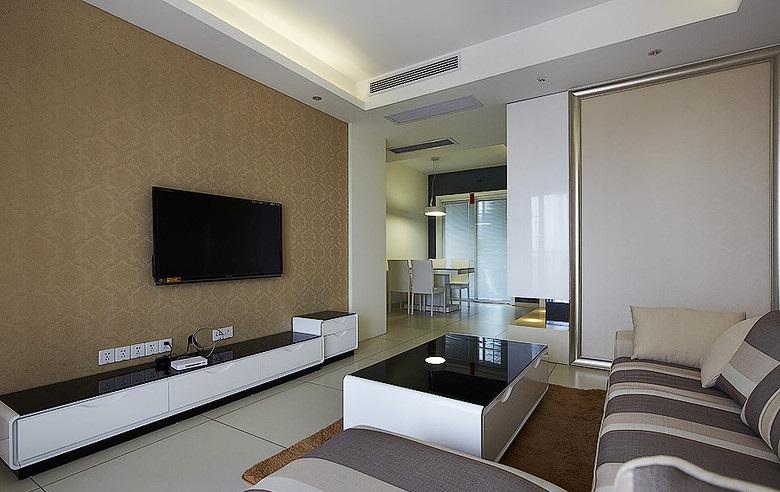 素色简约美式家装客厅电视背景墙装修图