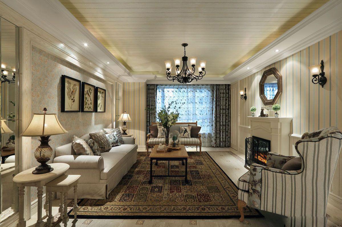 朴实田园风格客厅PVC吊顶设计