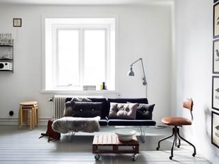 时尚个性黑白北欧风格一居室公寓效果图