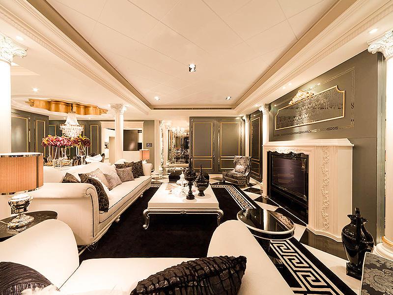 奢华大气欧式别墅客厅大吊顶设计装潢