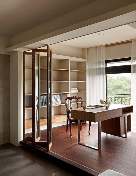 雅致简约现代风格书房实木地板效果图