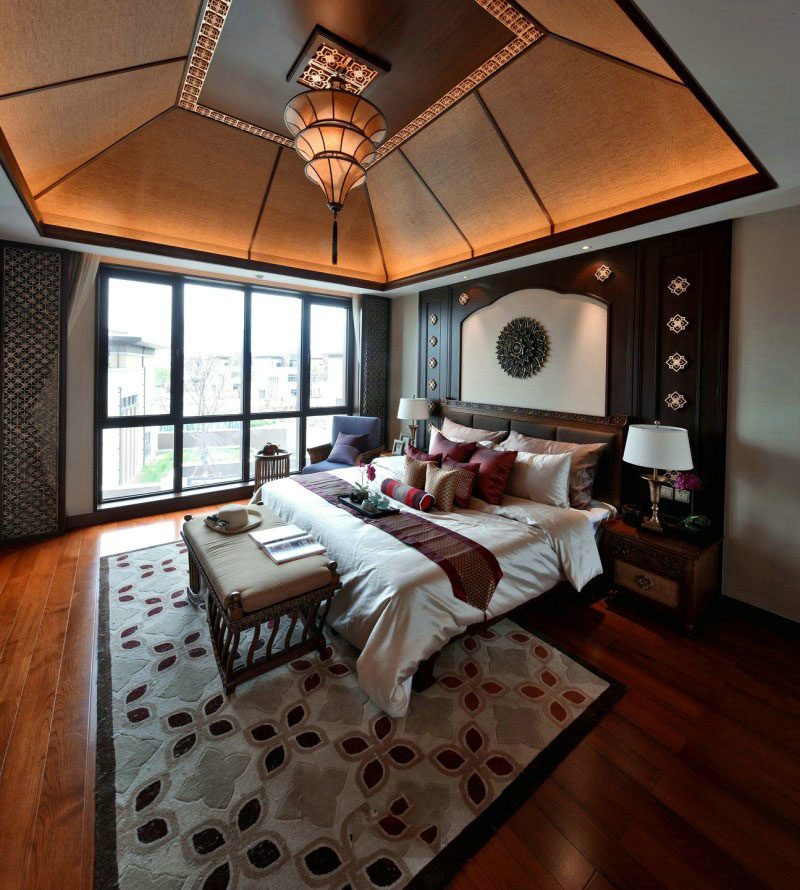 浪漫奢华复古东南亚家装卧室吊顶效果图