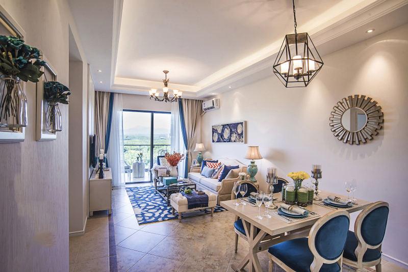 地中海设计装修风格三居室内石膏吊顶效果图