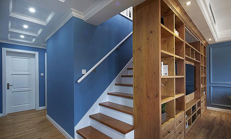 美式乡村风复式原木楼梯隔断效果图
