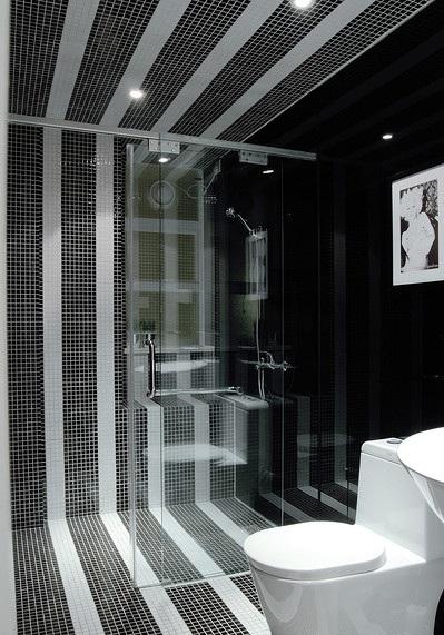 黑白时尚简约卫生间隔断装修效果图