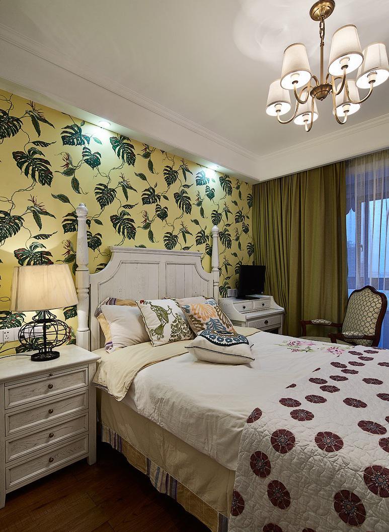 田园美式风格卧室墙纸装饰效果图