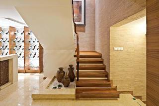 实木和谐东南亚风格复式装修欣赏图