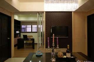 简约现代风格家居餐厅书房玻璃折叠门隔断效果图