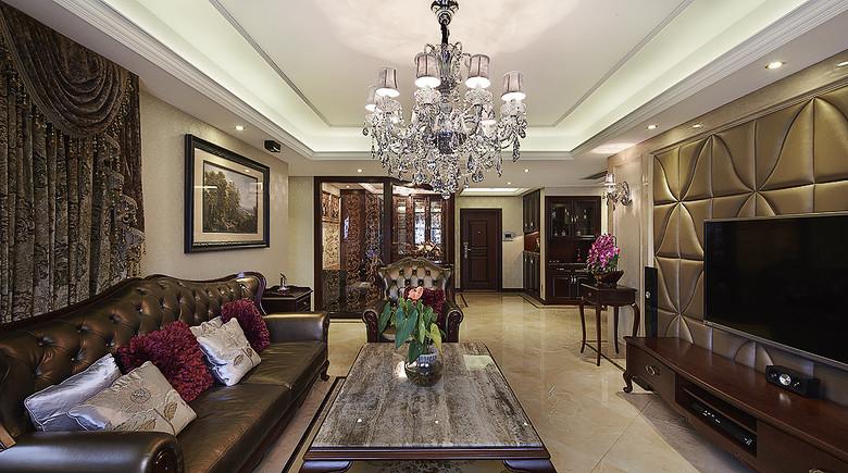 复古咖色欧式客厅玄关装修效果图大全