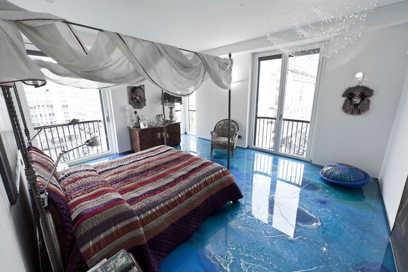 梦幻蓝色海洋混搭东南亚风情公寓装饰欣赏