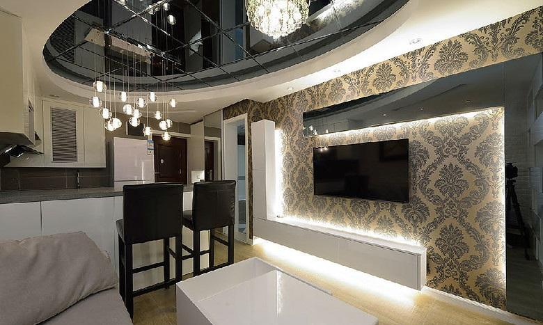 时尚现代欧式混搭客厅电视背景墙效果图