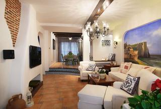 简约地中海风格三居客餐厅装饰欣赏图