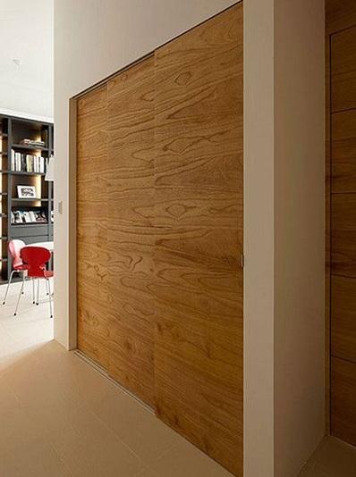 清新北欧风格过道实木衣柜设计案例图