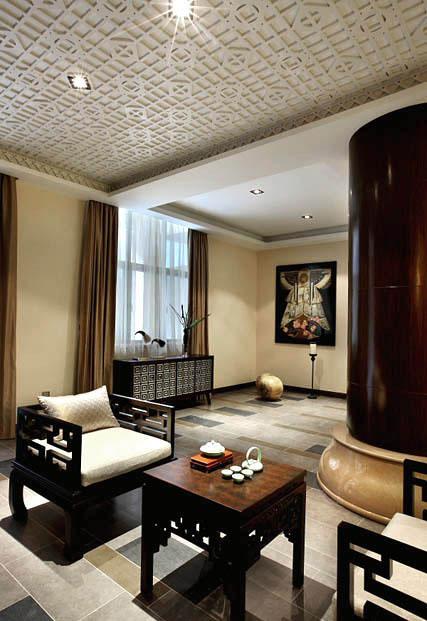 时尚中式新古典家装实木茶室设计效果图