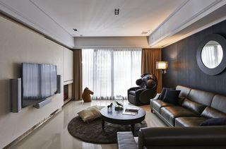时尚深色系现代公寓带露台花园效果图