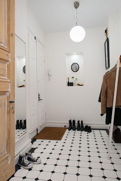 时尚简约北欧风格玄关黑白地砖效果图