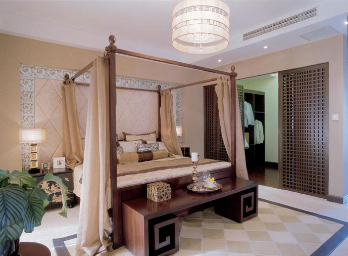 新中式风格带衣帽间卧室设计隔断图