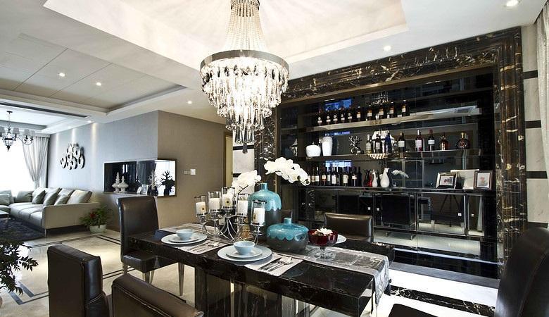 华丽北欧风格餐厅酒柜设计装修图
