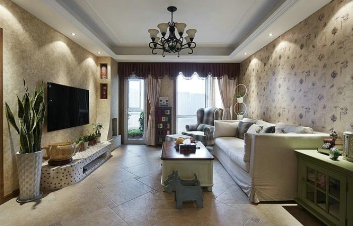 复古美式地中海装修客厅效果图大全