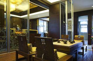 新古典中式家装茶室隔断设计装修图